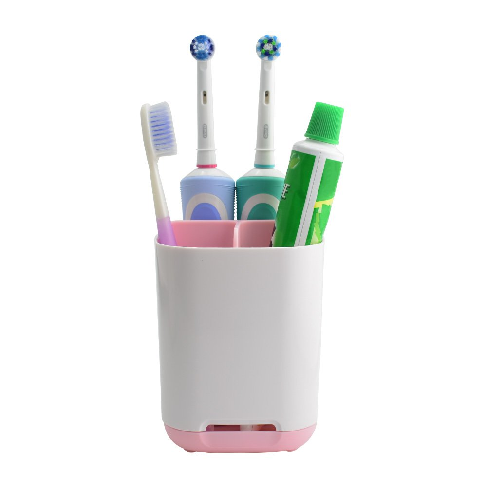 Sam4shine Toothbrush Holder, Upgraded Bathroom Toothbrush Caddy, Electric/Battery Toothbrush and Toothpaste Organizer Rack (Pink, Small)