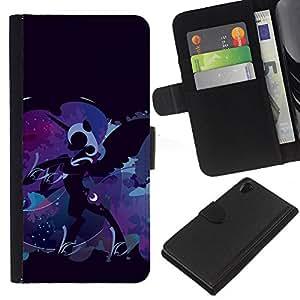 """Be-Star la tarjeta de Cr¨¦dito Slots PU Funda de cuero Monedero caso cubierta de piel Para Sony Xperia Z2 D6502 ( Pony Unicornio Azul Fairytale Art Dibujo"""" )"""