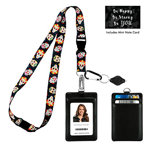 Skull Badge (Sugar Skull Day of the Dead Print Lanyard with PU Leather ID Badge Holder Wallet. 3 Card Pockets, Safety Breakaway Clip, Note Card. Gift of Carabiner Keychain Flashlight. Lanyard for Cruise & Work)