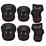 PAMASE Knee Elbow Wrist Protective Pads for Kids - Sports Safety Pads Set for Rollerblade, Cycling, Skateboard - Black S