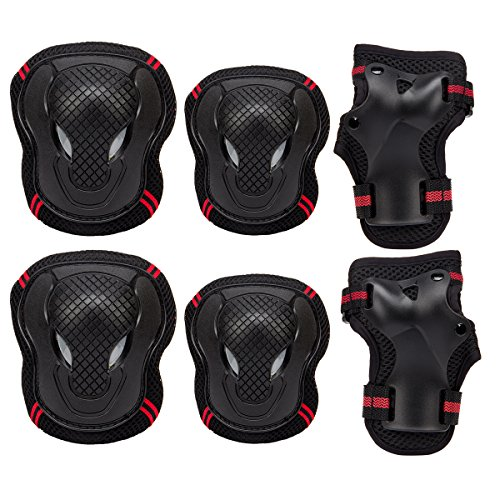 PAMASE Knee Elbow Wrist Protective Pads for Kids - Sports Safety Pads Set for Rollerblade, Cycling, Skateboard - Black M