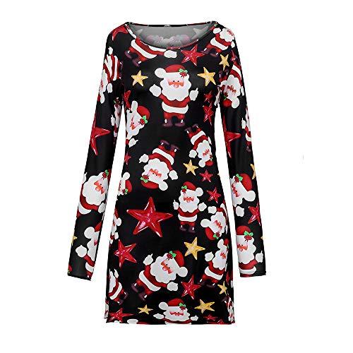 (ZEFOTIM Fashion Women Merry Christmas Panel Santa Claus Print Long Sleeves Dress(Large,Red))