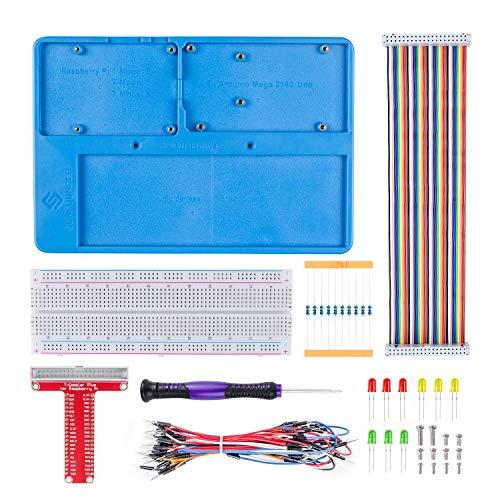 SunFounder Raspberry Pi RAB Holder Breadboard Kit with 830 Points solderless Circuit Board Raspberry Pi Holder for Arduino R3, Mega 2560 & Raspberry Pi 3B+, 3 Model B, 2 Model B and 1 Model B+