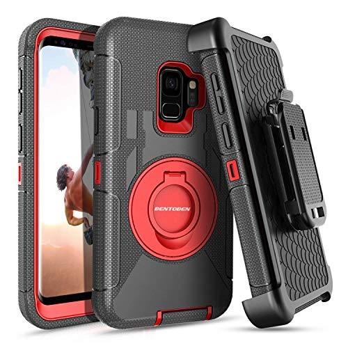 (S9 Case,Galaxy S9 Case,BENTOBEN Ring Kickstand Belt Clip Holster,Shockproof Heavy Duty Hard PC Soft Silicone Rugged Hybrid Bumper Full Body Protective Case for Samsung Galaxy S9 for Men/Boys,Black/Red)