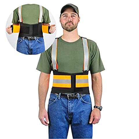 Hi-Visibility Reflective Back Brace Lumbar Support, Adjustable Suspenders - Over Lapping Belt For Lower Back Compression, Made With High Quality Non-Moisture Breathable Ventilated Elastic (Lumbar Brace 5x)