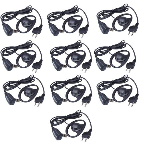 Arama B108L02 Pro D Shape Ear Hook Earpiece Headset with PTT & Mic for Midland Alan Dual pin 2 Way Radio 10 Pack ()