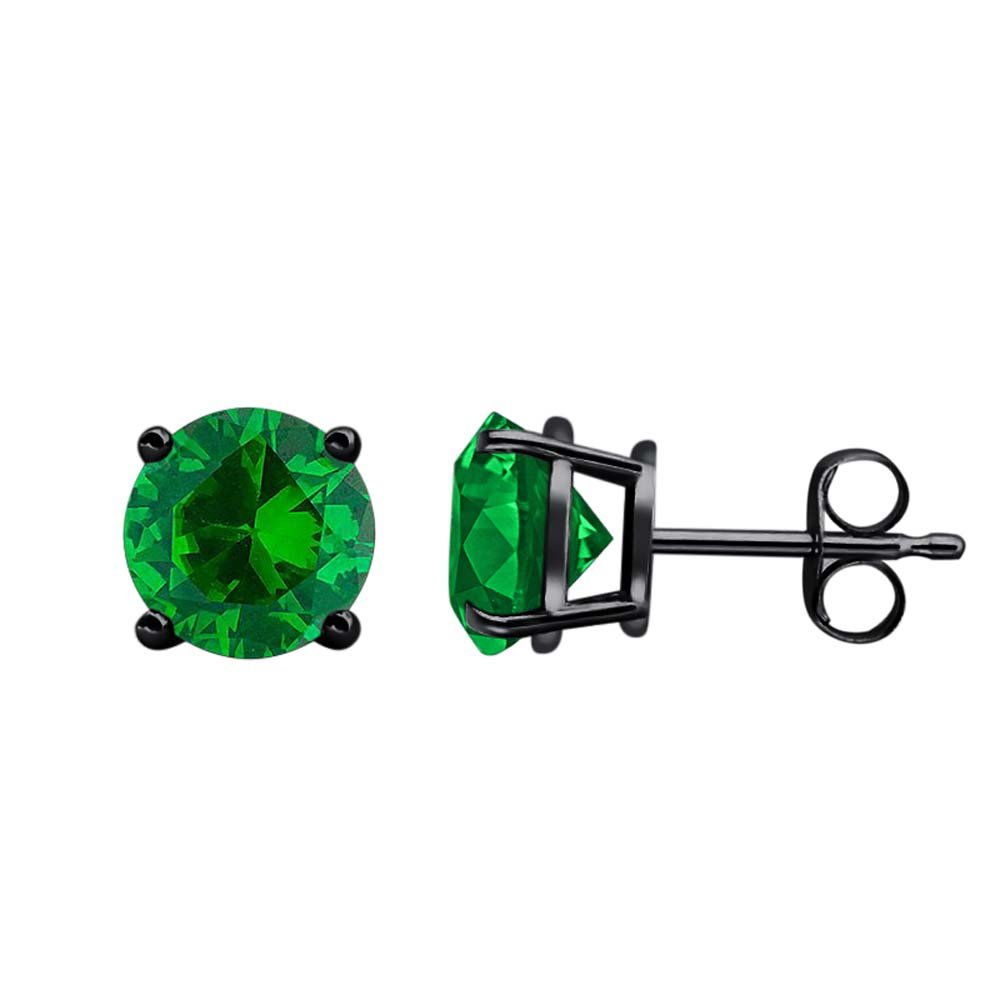 3mm Round Clear Green Emerald Solitaire Fancy Party Wear Stud Earrings 14k Black Gold Over .925 Sterling Silver For Womens Girls
