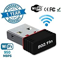 ROCKETKART 2.4Ghz, 950Mbps Fastest and High Speed Wireless Mini WiFi Adapter with High Gain Antenna for pc, Desktop, laptops & Other Devices, Compatible with Windows XP/7/8/8.1/10 - MAC OS 10.7~10.13
