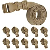 XTACER 78''x1'' Molle Backpack Accessory Strap Luggage Straps Cover Strap Sleeping Bag Strap with Buckle (Tan (10-Pack))