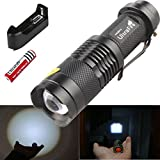 1Pcs Splendid Popular 3 Mode LED Flashlight 2000Lumen Aluminum Torch Tactical Light Rechargeable Color Black with Battery Charger