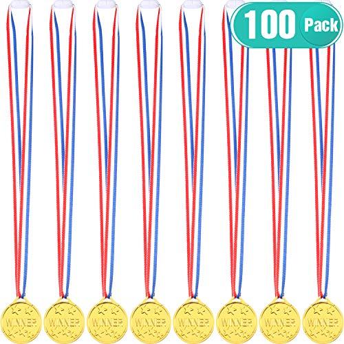 Gejoy 100 Packs Gold Plastic Winner Medals Kids Golden Winner Awards Medals -