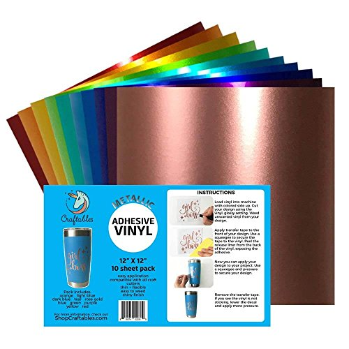 Craftables Metallic Vinyl Starter Pack - Chrome Polish Finish Craft Vinyl for Cricut and Silhouette Cameo - (10) 12 x 12 Sheets