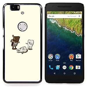 """Qstar Arte & diseño plástico duro Fundas Cover Cubre Hard Case Cover para Huawei Google Nexus 6P (Ataque Chocolate - Divertido"""")"""