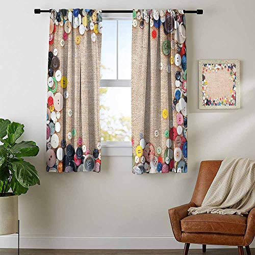 Mozenou Vintage, Curtains Elegant, Buttons Collection Fabric Texture Canvas Frame Sewing Needlecraft Contemporary Picture, Window Curtain Drape, W54 x L63 Inch Light Brown ()