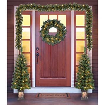 holiday time christmas decor pre lit 5 piece entryway set clear lights - Entryway Christmas Decorations