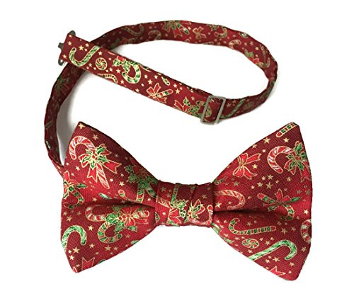 - Candy Cane Bow Tie Pre-tied Red Vintage Christmas with Gold Metallic (Mens)