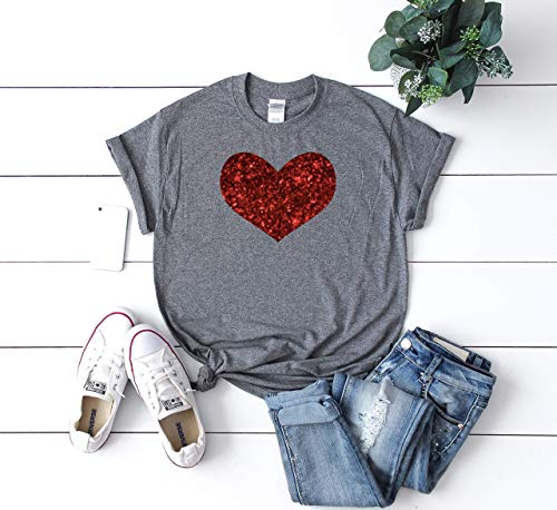 Cute Women's Valentine's Day Shirt Glitter Heart Holiday Top
