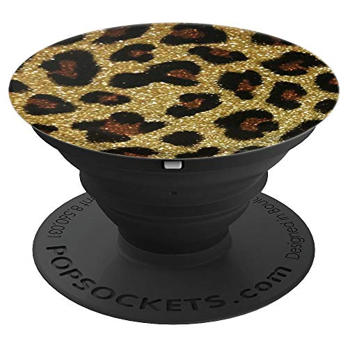 Gold, Leopard, Cheetah, Print, Sparkle, For Women, For Girls - PopSockets Grip and Stand for Phones and Tablets
