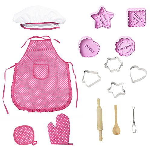 Play Cooking Utensils, Kitchen Toys for Girls, Kids Chef Set Children Cooking Play Kids Cook Costume, 11 Pieces (Pink)