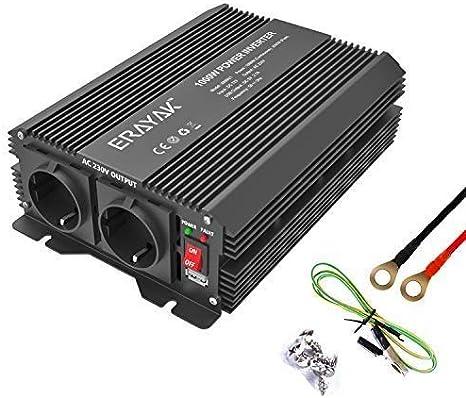 ERAYAK Inversor de Corriente 1000W (Pico 2000W), Convertidor, Transformador, 12v 220v Inverter, Con Puerto USB Con 2 AC Tomas y Encendedor Convertidor para Automóviles
