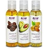 Now Foods Variety Moisturizing Oils Sampler: Sweet Almond, Avocado, and Jojoba Oils - 4oz. Bottles each