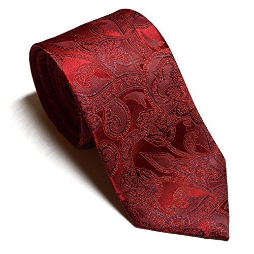 094994c88a263 HXCMAN 8cm red floral paisley tie set 100% silk necktie cufflinks pocket  square classic design