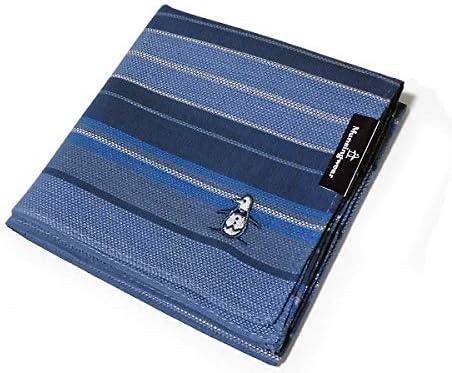 [送料180円][31]*Munsingwear(マンシングウェア)紳士用ハンカチ ネイビー&ブルー ボーダー 綿100% 48cm メンズ