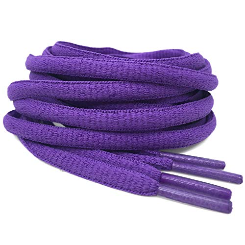 "DELELE 2 Pair Oval Shoes Laces Half Round 1/4""Athletic Shoelaces Shoe Strings Purple -59"""