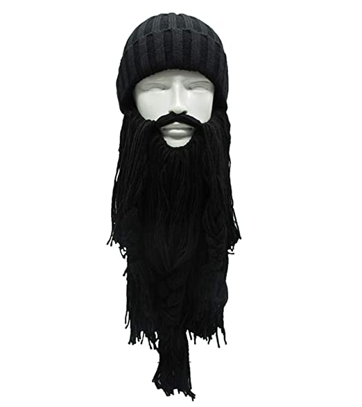 Kirmoo Viking Beard Beanie Hat Winter Warm Mask Hat Knitted Winter Hats  Funny Skull Cap for 0f36f70a51d