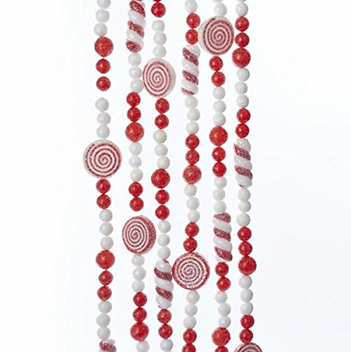 Kurt Adler RED AND WHITE BALL WITH PEPPERMINT SWIRL AND CANDY GARLAND