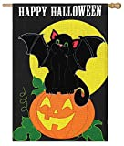 Cheap Evergreen Burlap Bat Cat Halloween House Flag, 28 x 44 inches