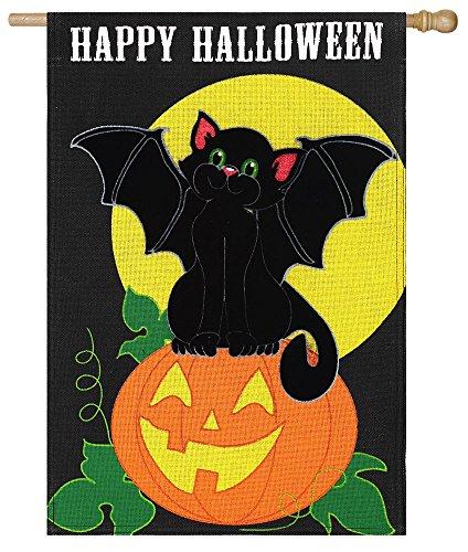 Cheap Evergreen Burlap Bat Cat Halloween House Flag, 28 x 44 inches
