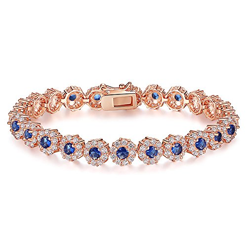AAA Cubic Zirconia Stones Rose Gold Plated Tennis Bracelets Diamond Bangle Jewelry for Women Christmas