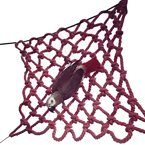 QBLEEV Bird Climbing Net, Birdcage Swing, Small Animal Activity Toy, Rat Hamster Parrot and Ferret Cotton Rope Nets Budgie Toys Pet Bed Hammock (15.7''x15.7'') by QBLEEV