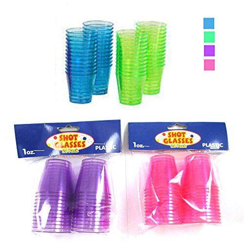 24 Shot Glasses Hard Plastic 1 Oz Mini Wine Glass Party Cups Barware Catering !