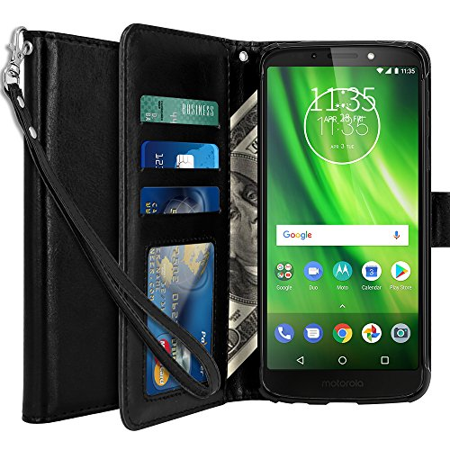 LK Case for Moto G6 Play, [Wrist Strap] Luxury PU Leather Wallet Flip Protective Case Cover with Card Slots and Stand for Moto G Play (6th Generation) - Black