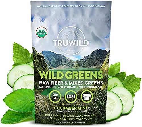 Wild Greens Certified Organic Green Superfood Adaptogen Powder - 22+ Amazing Organic Foods - Reishi, Ashwagandha, Maca, Moringa, Wheatgrass, Spirulina, Chlorella, Bitter Melon - Naturally Flavored