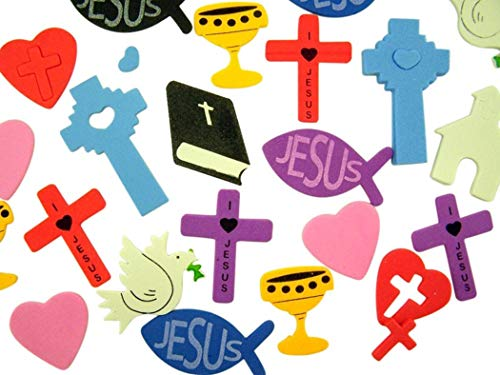 Religious Foam Sticker Assortment for Sunday School or Classroom, Container of