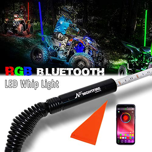 NF NIGHTFIRE RGB LED Whip 5FT APP Bluetooth Control w/Quick Release Shock-absorbing Spring ATV Safety Flag UTV Antenna Lighted Whips For RZR Polaris Can Am X3 Boat Sand Dune Buggy (One Whip)