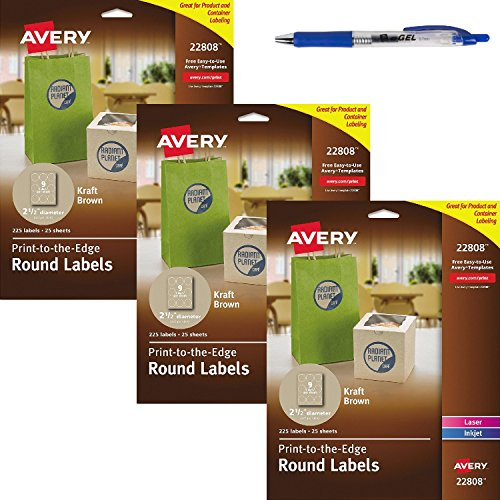 Avery Print-To-The-Edge Kraft Brown Round Labels, 2-1/2 Inch, Pack of 225 (22808) (675 label)