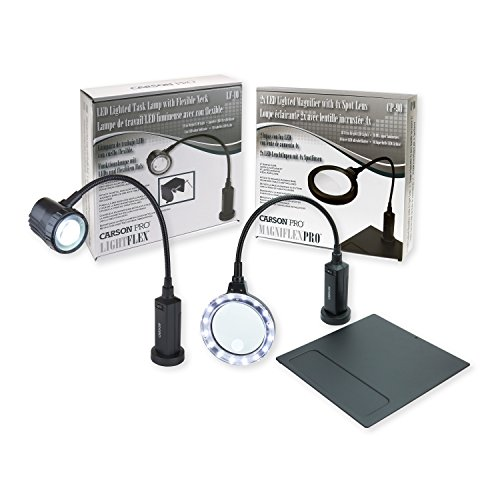 Carson MagniFlex Pro Magnifier and LightFlex LED Task Lamp Bundle with Magnetic Base