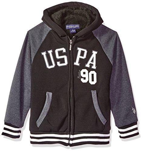 U.S. Polo Assn. Boys' Sherpa Lined Zip Up Hooded Sweatshirt