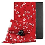 Fintie Apple iPad 2/3/4 Case - 360 Degree Rotating Stand Smart Case Cover for iPad with Retina Display (iPad 4th Generation), iPad 3 & iPad 2 (Automatic Wake/Sleep Feature) - Floral Red