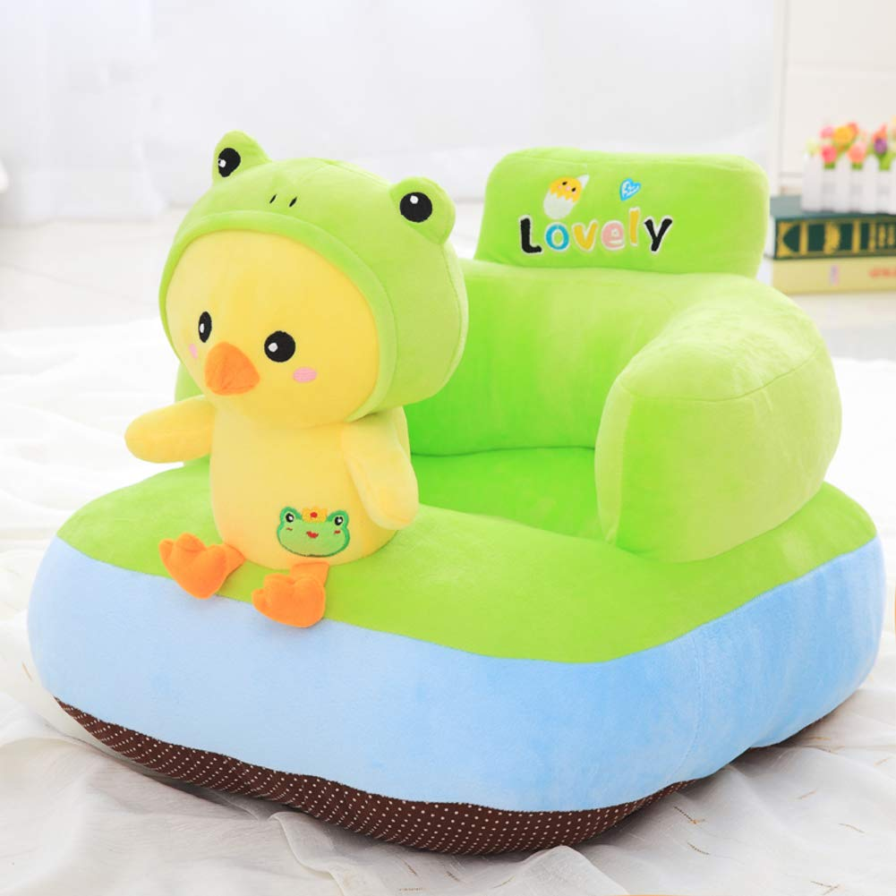 WAYERTY Animal Children Sofa, Children's Armchair Couch Plush Toy Lazy Upholstered Cartoon Seat Stool Boys and Girls Birthday Gifts Kid Chair-Green W55xH40cm(22x16inch)