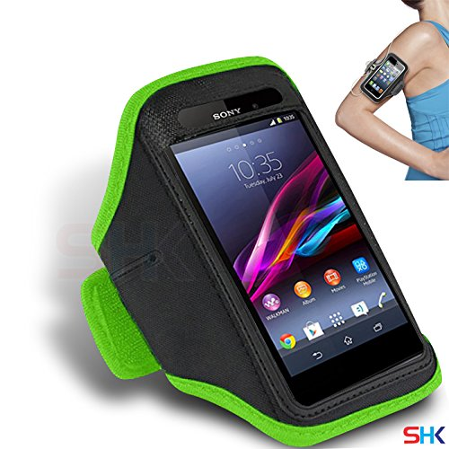 SONY Xperia Z1s GREEN Adjustable Armband Sport Gym Bike Cycle Running Jogging Sports Case Cover Holder Pouch (DD) BY SHUKAN®