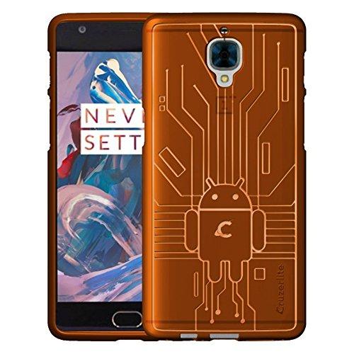 (Cruzerlite OnePlus 3 / 3t Case, Bugdroid Circuit TPU Case for OnePlus Three/OnePlus 3/3T - Retail Packaging - Orange)