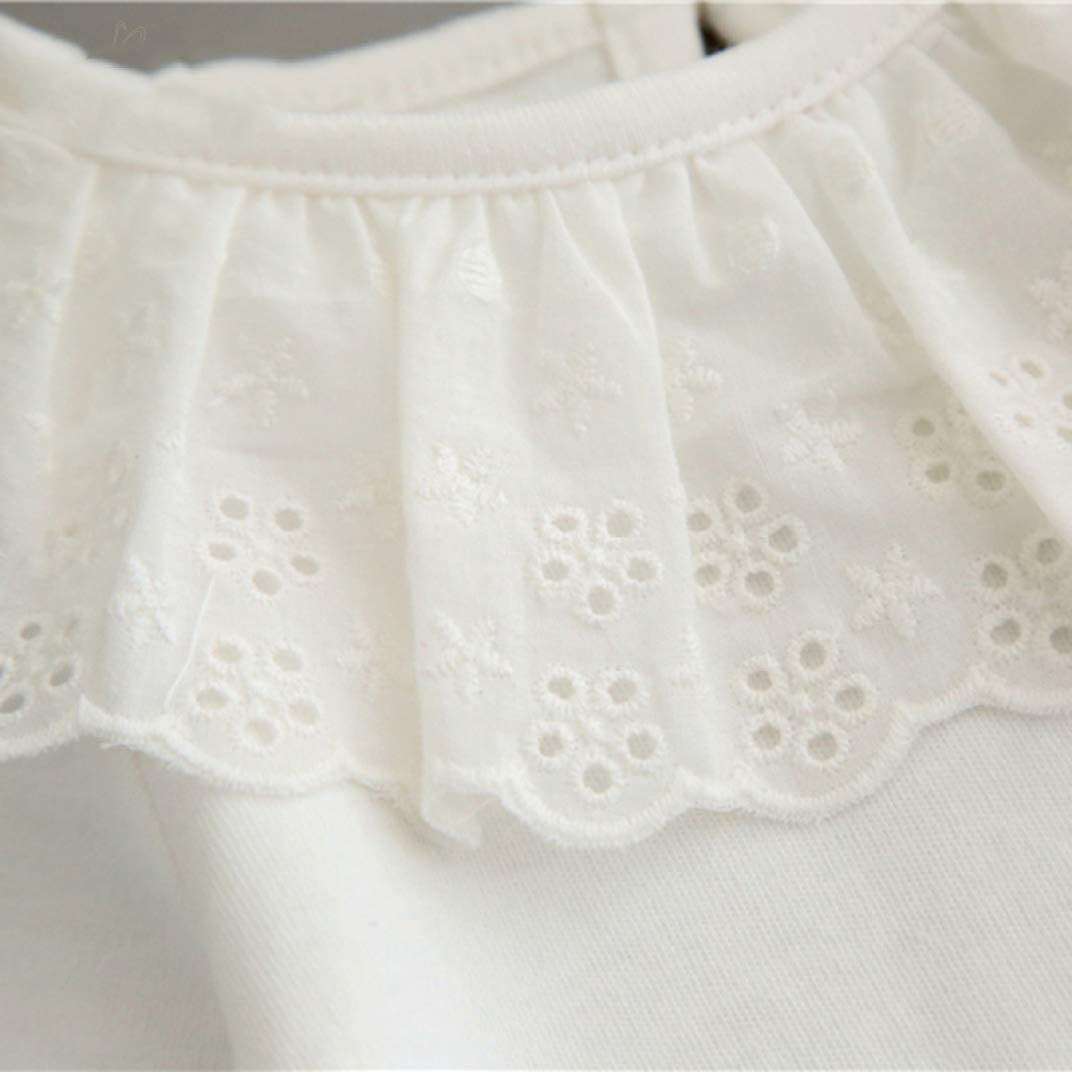 Baby Girl Tops T-Shirt Long Sleeve Newborn Winter White Floral Lace Pullover Hollow Front Cute Fashion Ruffle Shirts
