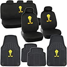 Tweety Full Set Car Seat Cover Rubber Floor Mat GIft Set Products w. Accessory