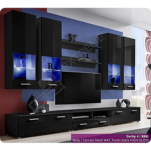 Brilliant Living Room Furniture Set   High Gloss Fronts   Display Hung On Wall  Unit