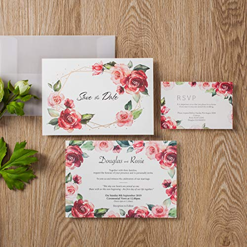 50 WISHMADE Floral Red Rose Simple Design Wedding Invitations Card Stock, Gold Foil Border with Sulfuric Paper Envelope, for Engagement Bridal Shower Quincenera Birthday ()